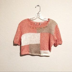 Vintage Cropped Coral and Cream Knitted Top!